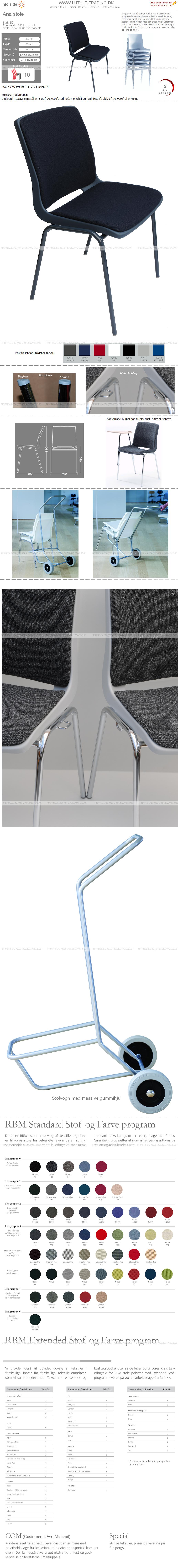 Ana stol med mørkblå stel, mørkblå plastskal og Fame stof 66061 blå. Der er 5 års garanti på Ana stole.