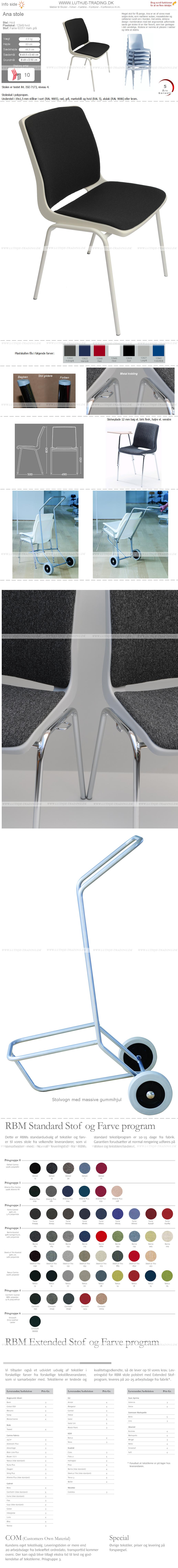 Ana stol med hvid malet stel, hvid plastskal og Fame stof 66051 mørkgrå. Der er 5 års garanti på Ana stole.