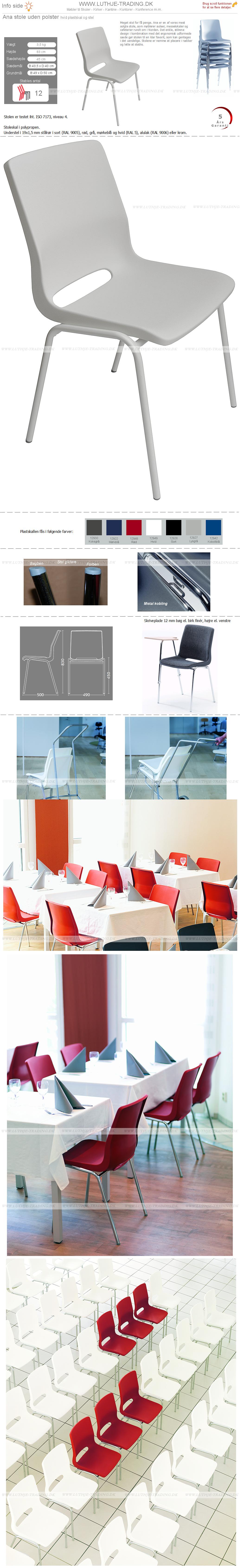 Ana stol med hvid plastskal og med hvid stel. Stables op til 12 stk. Der fås en vogn til Ana stole. Vi giver gerne det bedste tilbud på en Ana stol.