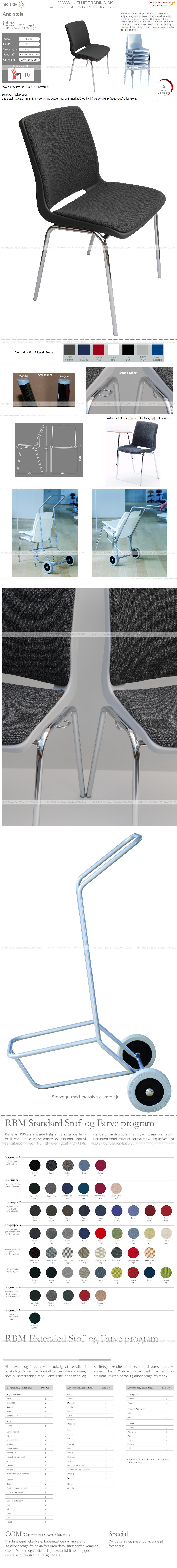 Ana stol med krom stel, koksgrå plastskal og Fame stof mørkgrå nr. 60051 på sæde og ryg. Der er 5 års garanti på Ana stole.