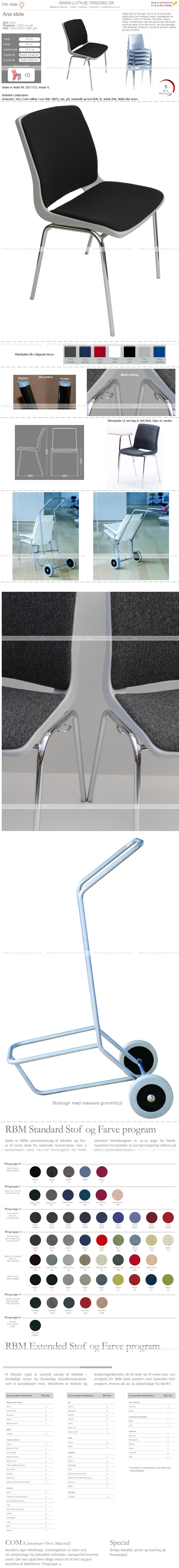 Ana stol med krom stel, lysgrå plastskal og Fame stof sort nr. 60051 på sæde og ryg. Der er 5 års garanti på Ana stole.