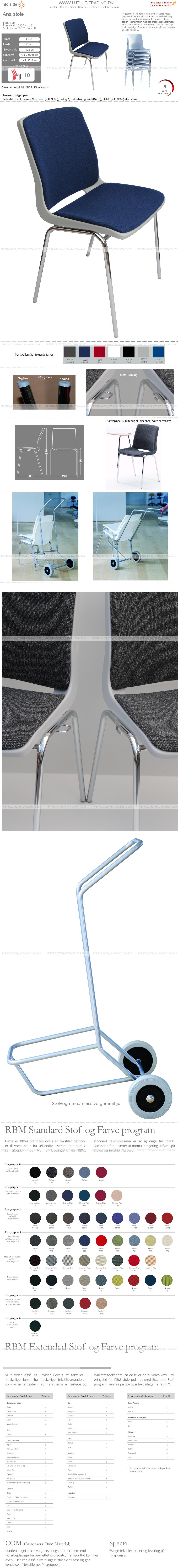 Ana stol med krom stel, lysgrå plastskal og Fame stof koboltblå nr. 60071 på sæde og ryg. Der er 5 års garanti på Ana stole.