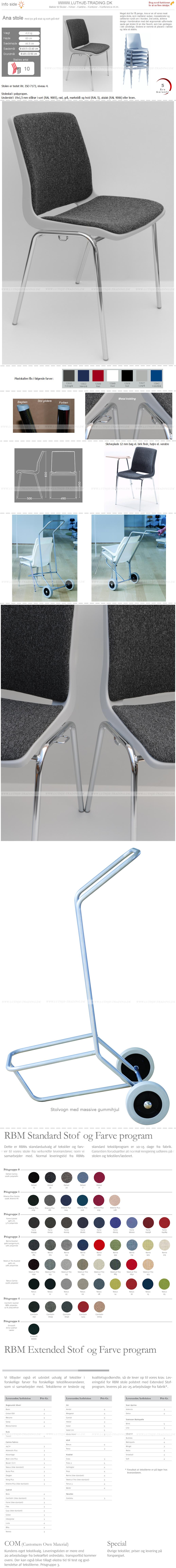Ana stol med polster sort-grå og lys grå plastskal. Ana stole med polster stabler op til 10 stk. og der fås en vogn til stolene. Vi giver gerne det bedste tilbud på en Ana stol.