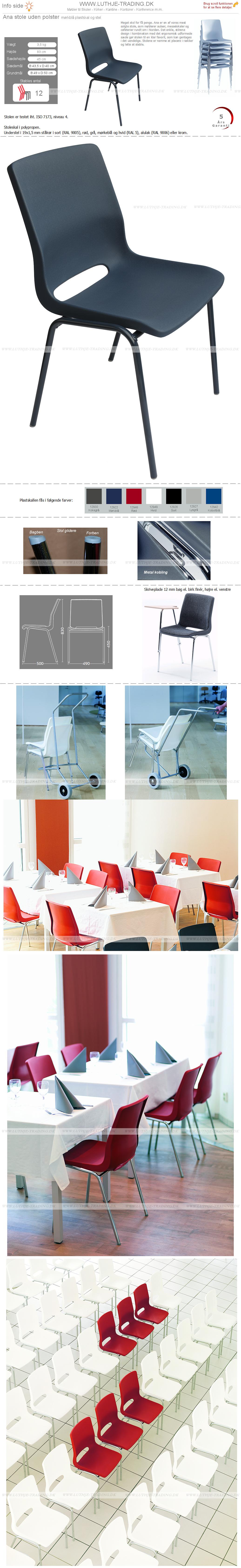 Ana stol med mørkblå plastskal og med mørkblå stel. Stables op til 12 stk. Der fås en vogn til Ana stole. Vi giver gerne det bedste tilbud på en Ana stol.