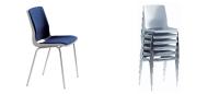 Ana stol med polster og krom stel. Der kan fås mange typer polster. De kan stables op til 10 stk. og der fås en vogn til Ana stole. Vi giver gerne det bedste tilbud på en Ana stol.