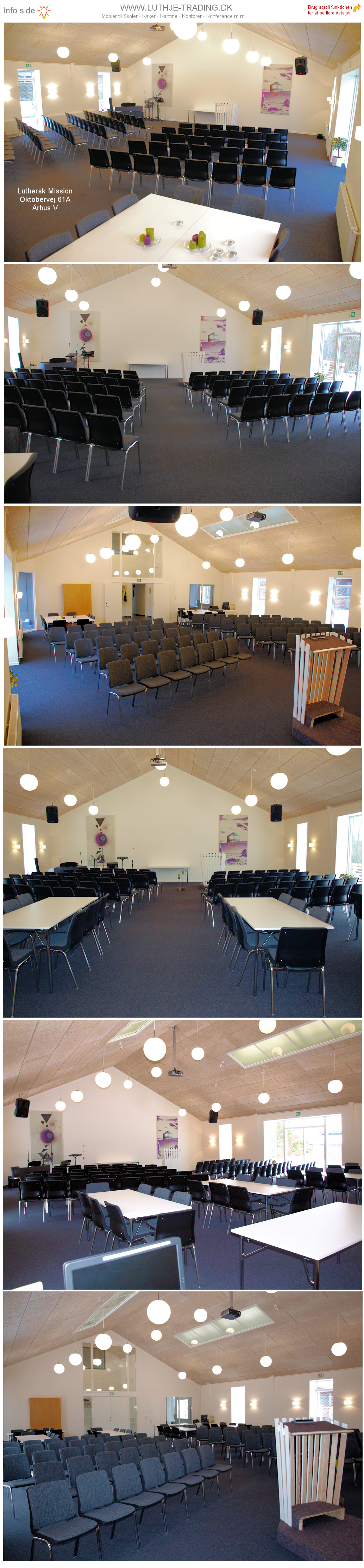 Ana stol opstilling i menighedslokale. Vi giver gerne det bedste tilbud på en Ana stol.
