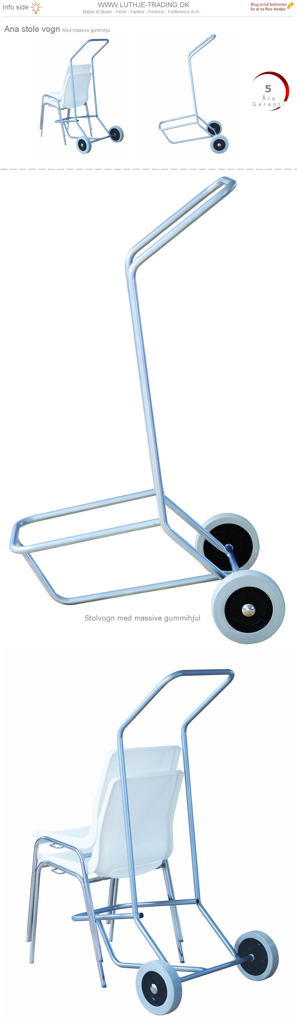 Vogn til Ana stol med gummihjul. Stolvognen kan transportere op til 12 stk. Ana stole. Vi giver gerne det bedste tilbud på en Ana stol.